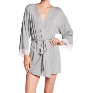 Honeydew intimates lace trim robe in heather gray
